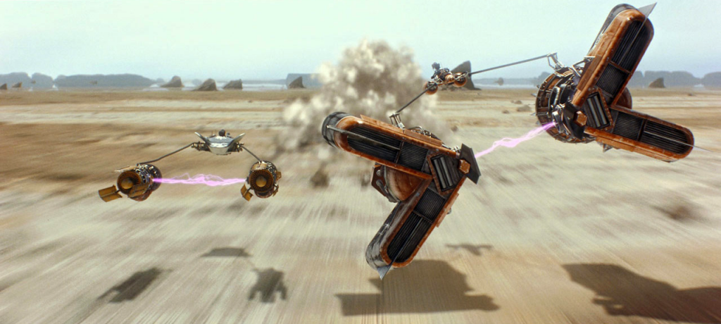 Sebulba and Anakin's podracers